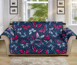 Butterfly Red Deep Blue Themed Pattern Sofa Couch Protector Cover