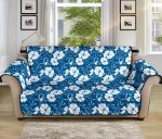 Hibiscus Blue Flower Hawaiian Pattern Sofa Couch Protector Cover