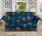 Sea Turtle Hand Drawn Blue Pattern Sofa Couch Protector Cover