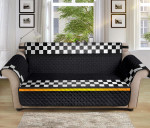 Checkered Flag Yellow Line Pattern Sofa Couch Protector Cover