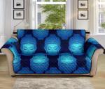 Buddha Head Mandala Blue Pattern Sofa Couch Protector Cover