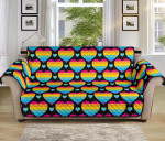 Rainbow Heart Colorful Pattern Sofa Couch Protector Cover