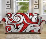 Maori Polynesian Red And White Pattern Sofa Couch Protector Cover