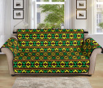 African Geometric Green Yellow Pattern Sofa Couch Protector Cover