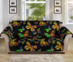 Monarch Butterfly Neon Color Pattern Sofa Couch Protector Cover