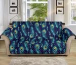 Peacock Feather Blue Pattern Sofa Couch Protector Cover