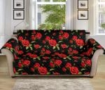 Multi Red Rose Pattern Sofa Couch Protector Cover