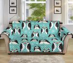 Penguin Love Red Heart Pattern Blue Theme Sofa Couch Protector Cover