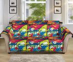 Dinosaur Comic Pop Art Pattern Sofa Couch Protector Cover