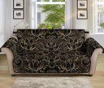 Lotus Gold Mandala Black Pattern Sofa Couch Protector Cover