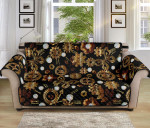 Steampunk Butterfly Brown Pattern Sofa Couch Protector Cover