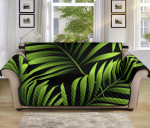 Green Neon Tropical Palm Leaves Pattern Sofa Couch Protector Cover