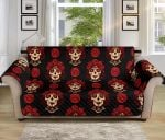 Day Of The Dead Skull Girl Red Pattern Sofa Couch Protector Cover