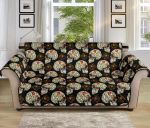 Sugar Skull And Flower Pattern Sofa Couch Protector Cover