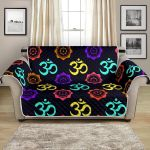 Chakra Om Symbol On Black Background Pattern Sofa Couch Protector Cover