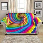 Vortex Twist Swirl Rainbow Design Pattern Sofa Couch Protector Cover