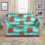 Cute Octopus On Blue Sea Background Pattern Sofa Couch Protector Cover