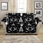 Black And White Deer Native Indian Pattern Sofa Couch Protector Cover