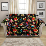 Skulls And Roses Flower Summer Festival Pattern Sofa Couch Protector Cover