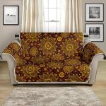 Gold Sunflower Hand Drawn Themed Pattern Sofa Couch Protector Cover