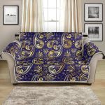 Paisley Blue Yellow Design Pattern Sofa Couch Protector Cover
