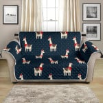 Christmas Llama On Polka Dot Background Pattern Sofa Couch Protector Cover