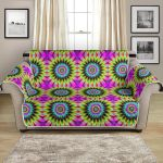 Optical Illusion Flower Rainbow Style Pattern Sofa Couch Protector Cover