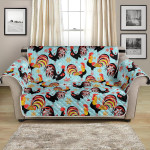 Rooster With Long Tail On Blue Pattern Sofa Couch Protector Cover