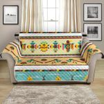 Colorful Geometric American Indian Life Pattern Sofa Couch Protector Cover
