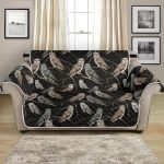 Owl Branch On Black Themed Design Pattern Sofa Couch Protector Cover