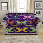 Spirit Animal Dragonfly On Neon Color Pattern Sofa Couch Protector Cover