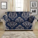 Damask Blue And Gold Pattern Sofa Couch Protector Cover