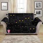 Black Cat With Yellow Eyes Night Pattern Sofa Couch Protector Cover