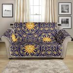 Celestial Gold Sun Face Art Pattern Sofa Couch Protector Cover