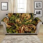 Camo Realistic And Forest Textured Pattern Sofa Couch Protector Cover