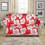 Summer Hawaiian Hibiscus On Red Background Pattern Sofa Couch Protector Cover