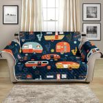 Happy Camping Camper Caravan Pattern Sofa Couch Protector Cover