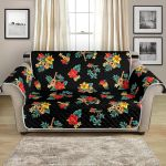 Hawaiian Flower On Black Themed Pattern Sofa Couch Protector Cover