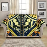 Gold And Navy Polynesian Tattoo Pattern Sofa Couch Protector Cover