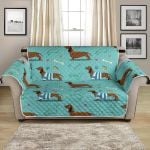 Lovely Dachshund Dogs On Sky Blue Pattern Sofa Couch Protector Cover