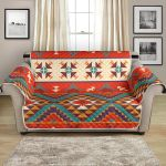 Red Aztec Geometry Pattern Sofa Couch Protector Cover