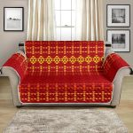 Southwest Red Gold Warm Tone Pattern Sofa Couch Protector Cover