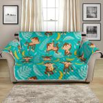 Monkeys Have Lunch With Banana Pattern Sofa Couch Protector Cover