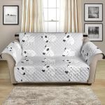 Cute White Bull Terrier For Dog Lover Pattern Sofa Couch Protector Cover