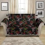 Western Skull Roses On Black Themed Pattern Sofa Couch Protector Cover