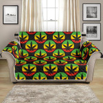 Rasta Reggae Color On Round Shape Pattern Sofa Couch Protector Cover