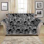 Black And White Skull Tattoo Design Pattern Sofa Couch Protector Cover