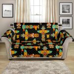Totem Pole Cartoon On Black Background Pattern Sofa Couch Protector Cover