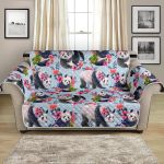 Panda And Pink Flower In Habitat Pattern Sofa Couch Protector Cover