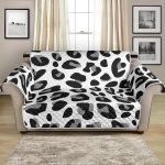 Snow Leopard Skin Textured On White Pattern Sofa Couch Protector Cover